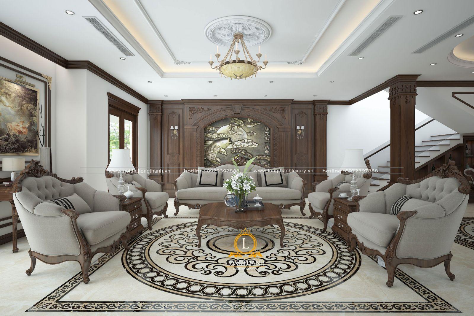 Bộ sofa nỉ với gam màu trầm nhẹ nhàng và tinh tế