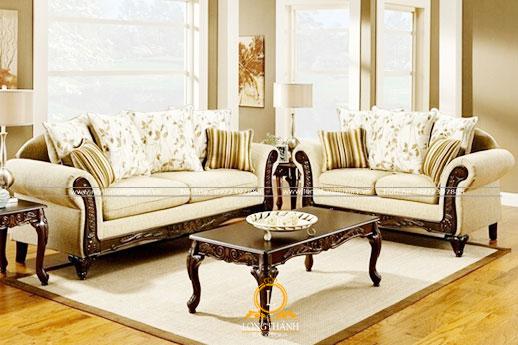 Bộ sofa bọc nỉ với gam màu sáng đẹp nổi bật cho phòng khách
