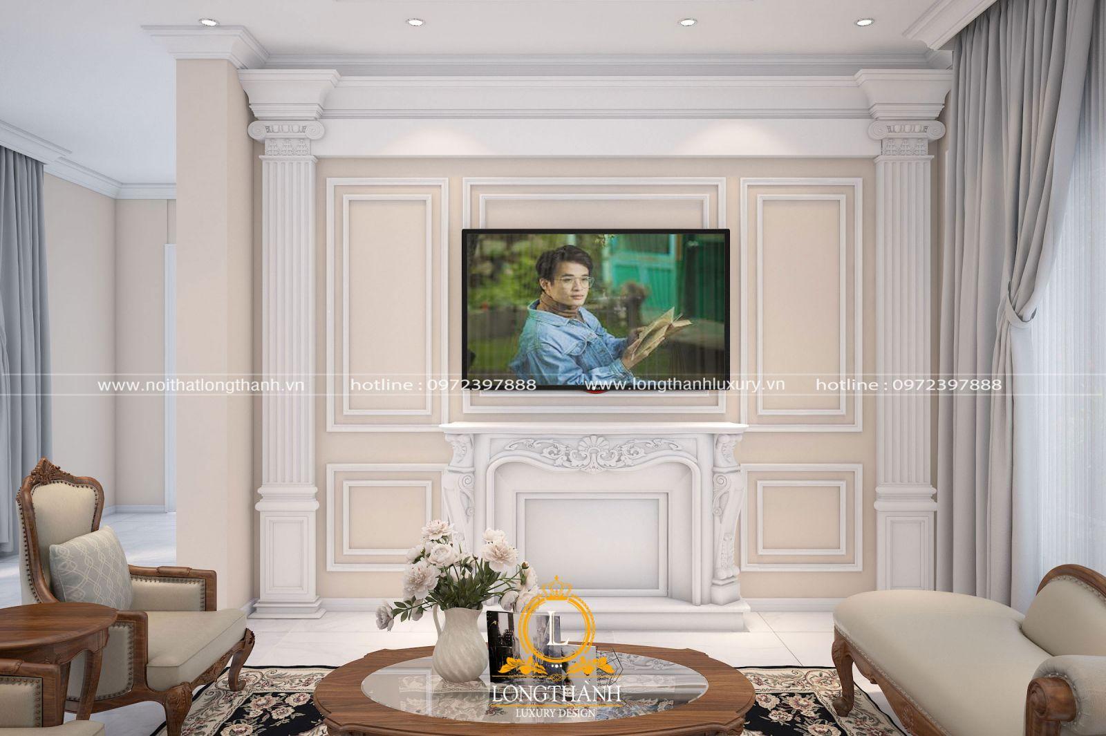 Không gian phòng khách tân cổ điển với điểm nhấn là bộ sofađược bố trí trung tâm