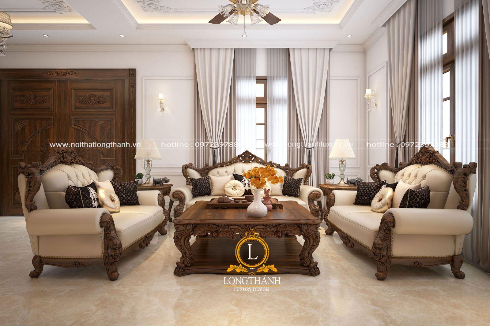 Bộ sofa lớn được thiết kế kích thước phù hợp không gian phòng khách