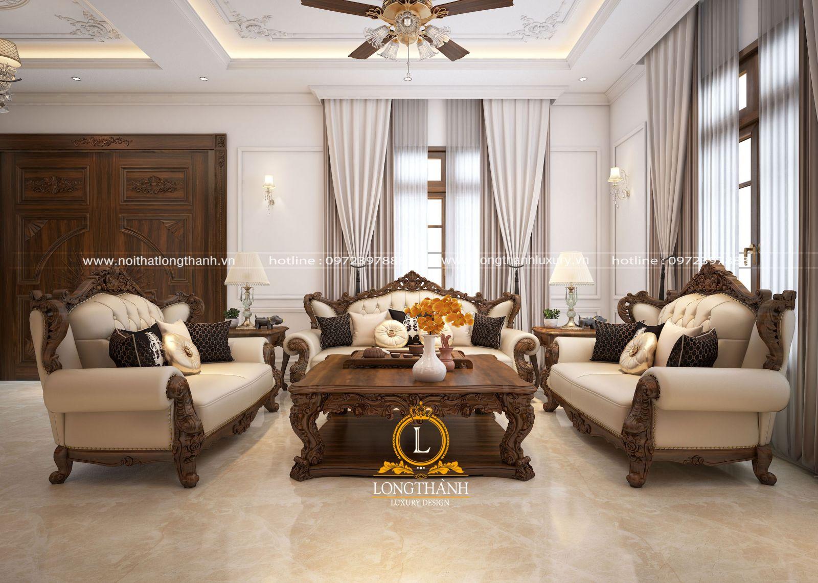 Không gian rộng nên gia chủ bố trí đồ nội thất và trang trí không gian thêm sang trọng