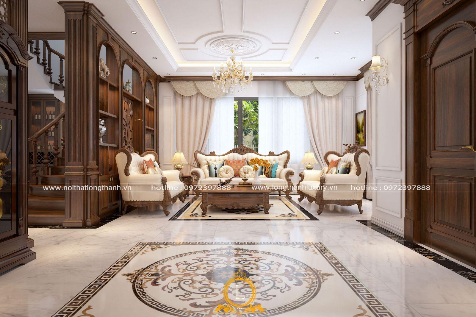Trần thạch cao ghi dấu ấn ở sự đơn giản trong phòng khách tân cổ điển