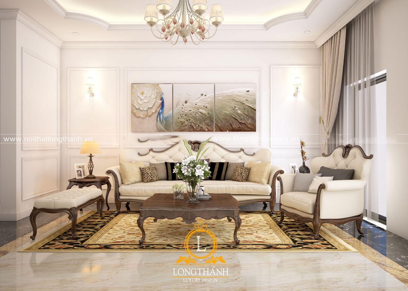 Sofa tân cổ điển đơn giản cho phòng khách nhà phố hẹp