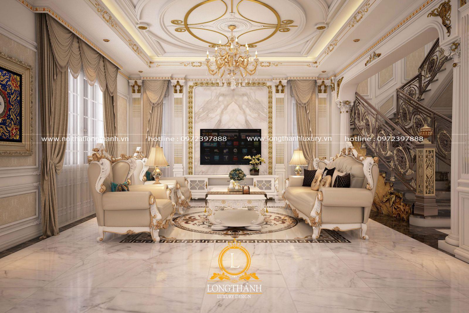 Bộ sofa sơn trắng  kết hợp bọc chất liệu da màu kem bóng mịn cân đối và phù hợp cho phòng khách