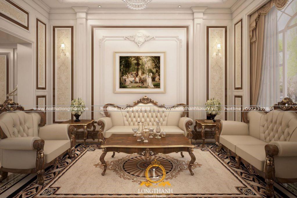 Bộ sofa tân cổ điển bọc da cao cấp cho phòng khách sang trọng
