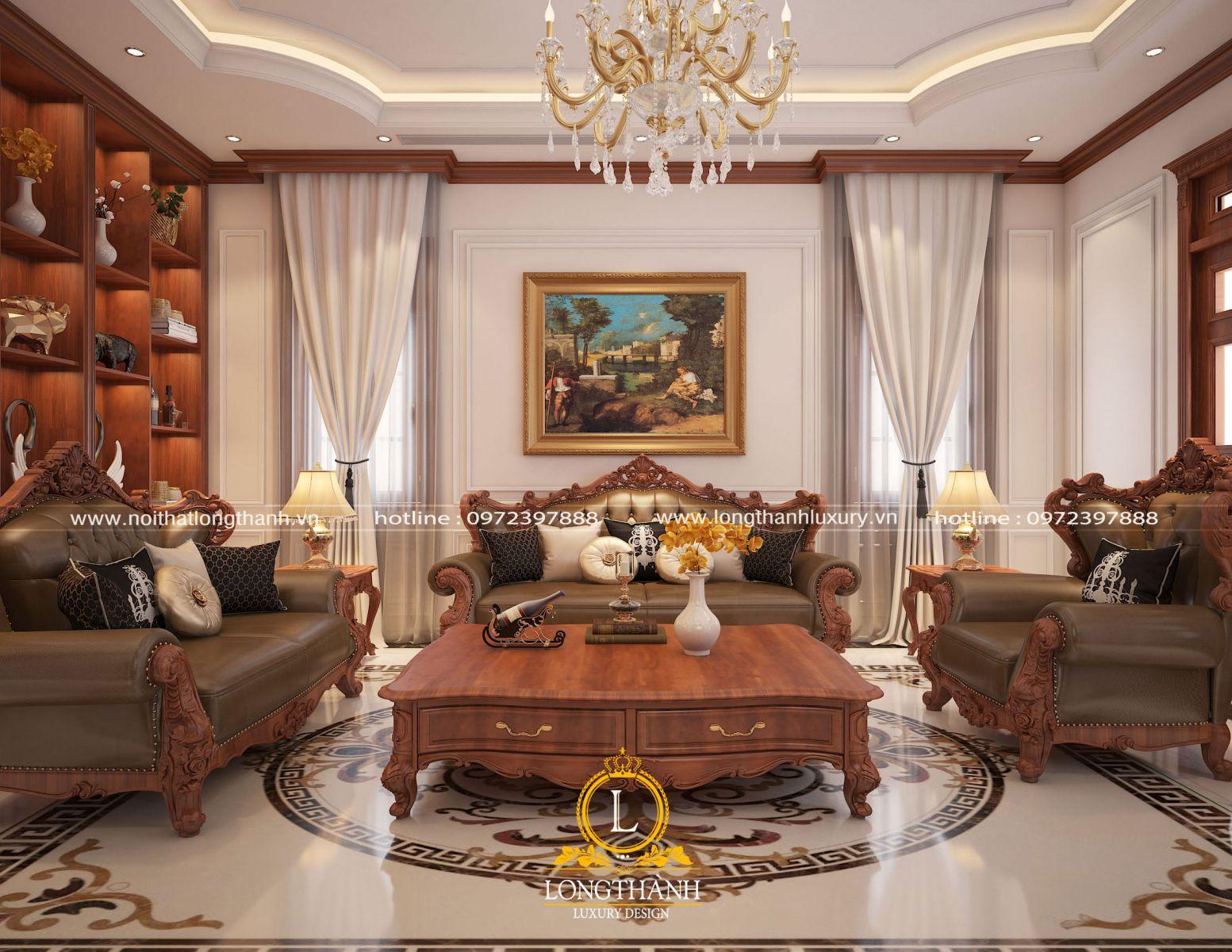 Căn phòng khách biệt thự thiết kế theo phong cách tân cổ điển được sử dụng nội thất tông màu trầm