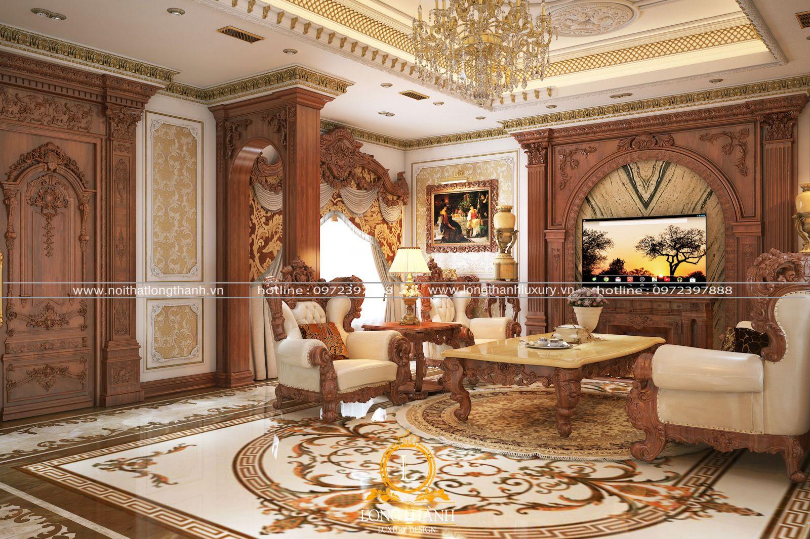 Mẫu thiết kế phòng khách tân cổ điển vùa đẹp vừa sang