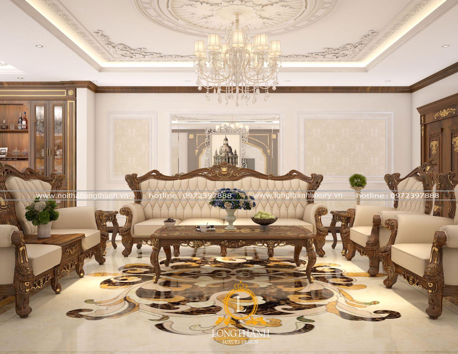 Mẫu sofa dát điểm mạ vàng đẳng cấp cho phòng  khách rộng