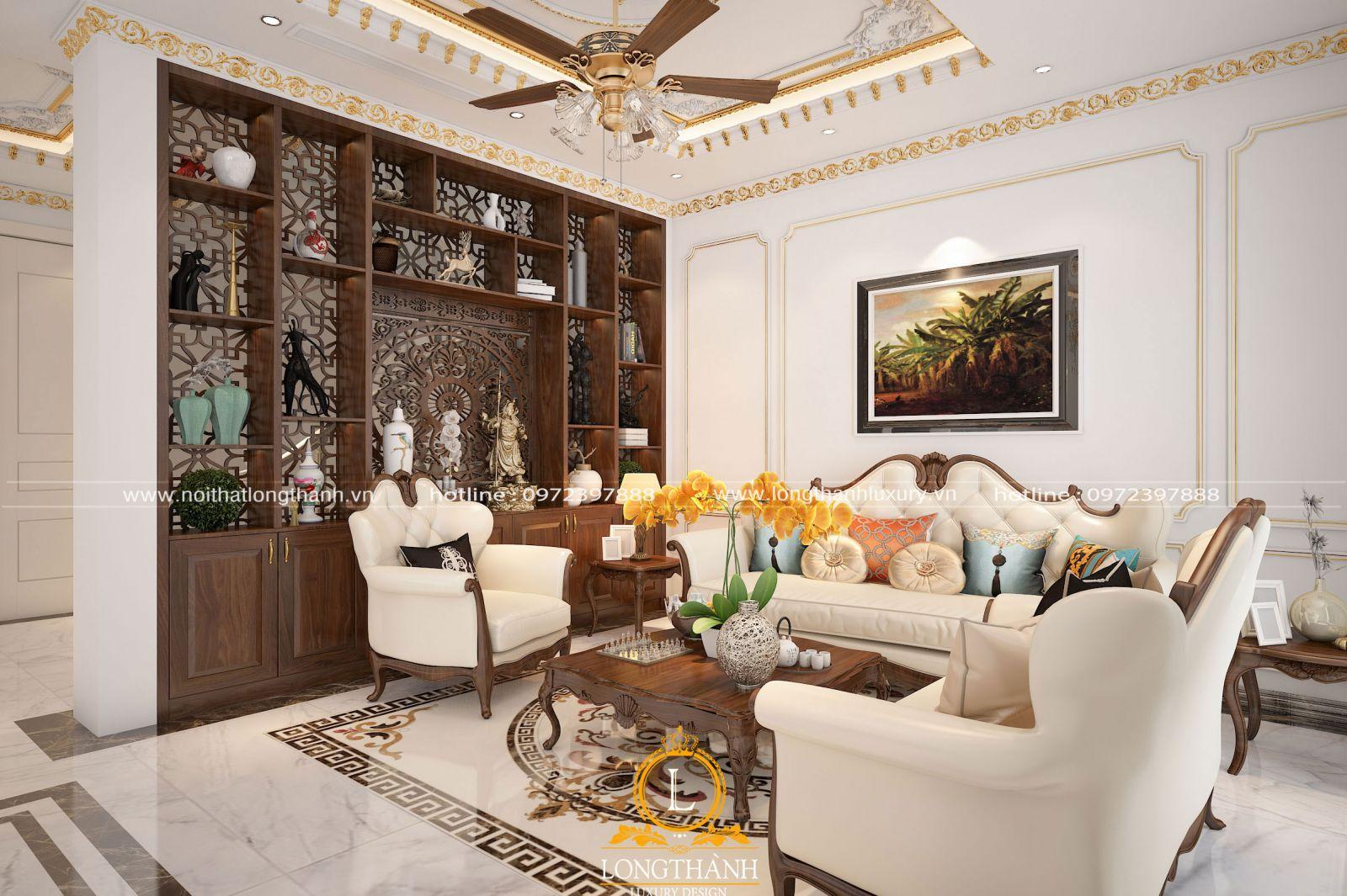 Bộ sofa tân cổ điển nhẹ nhàng cho phòng khách