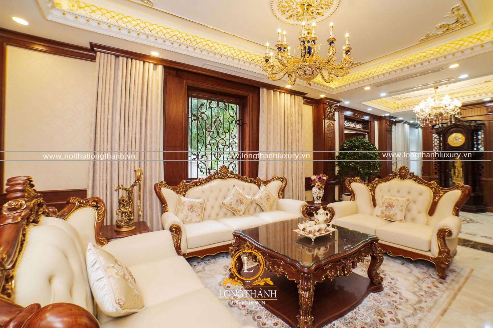 Bộ sofa tân cổ điển từ gỗ tự nhiên được dát mạ vàn đẳng cấp