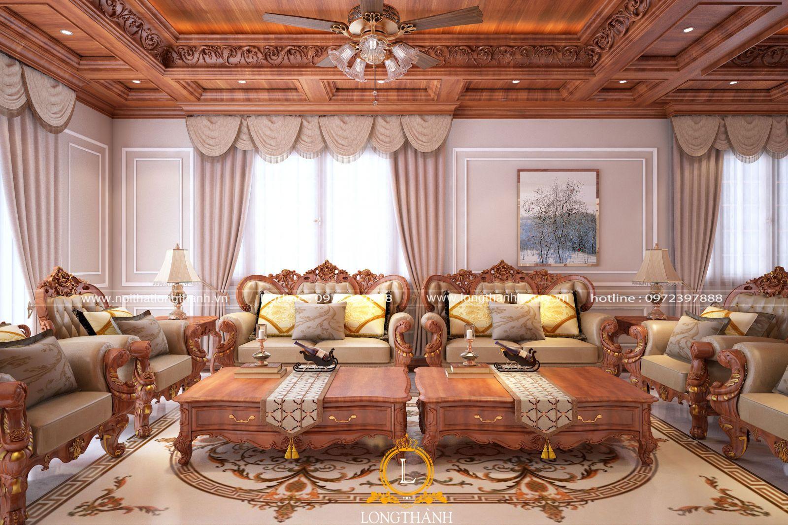 Mẫu sofa bọc da được thiết kế cầu kỳ phù hợp với không gian phòng khách rộng