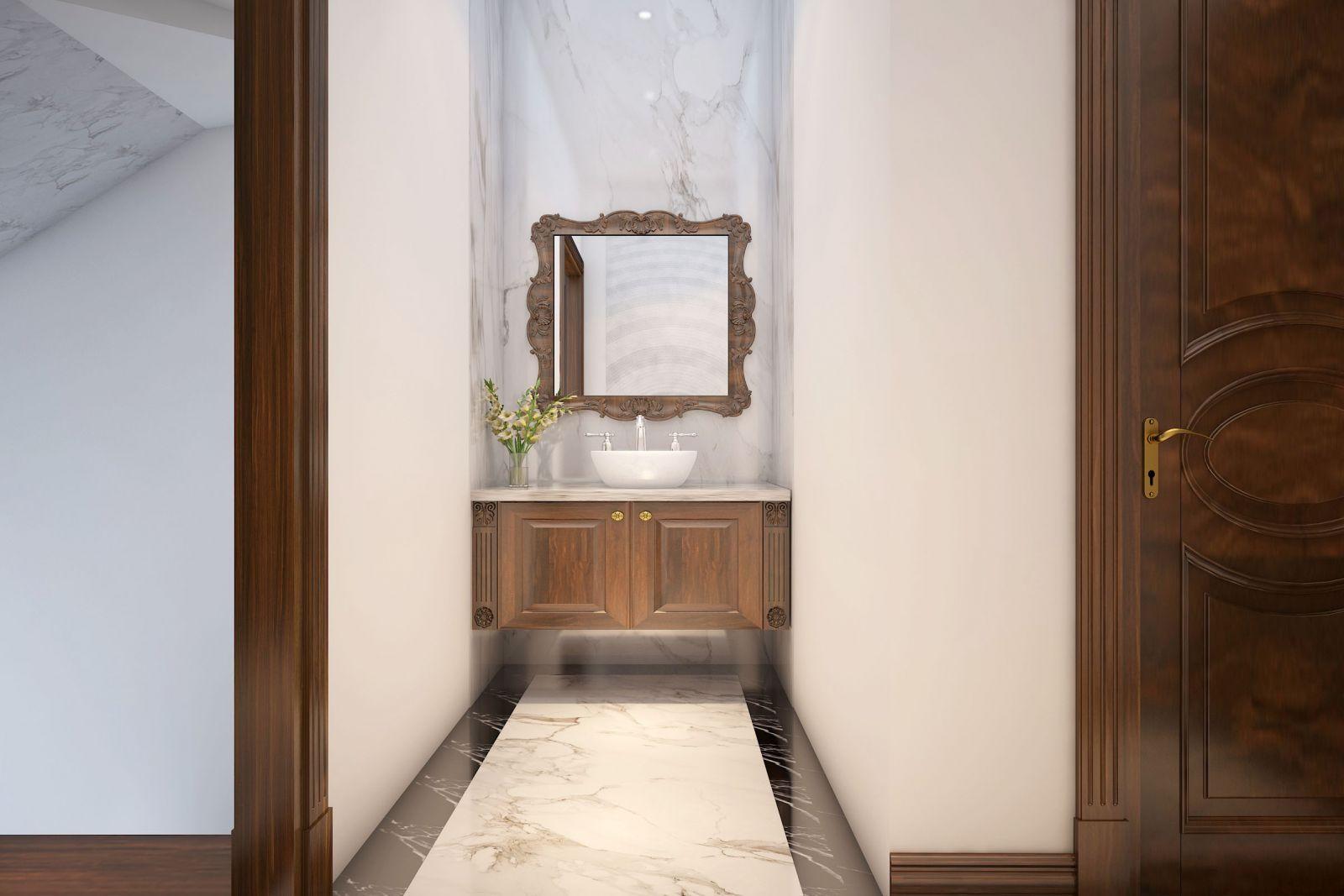 Vị trí đặt lavabo ở cuối căn nhà