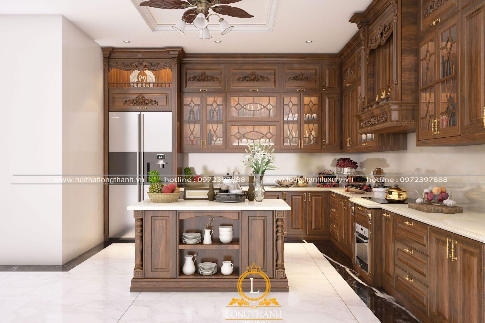 Bộ tủ bếp đẹp được bố trí bàn đảo
