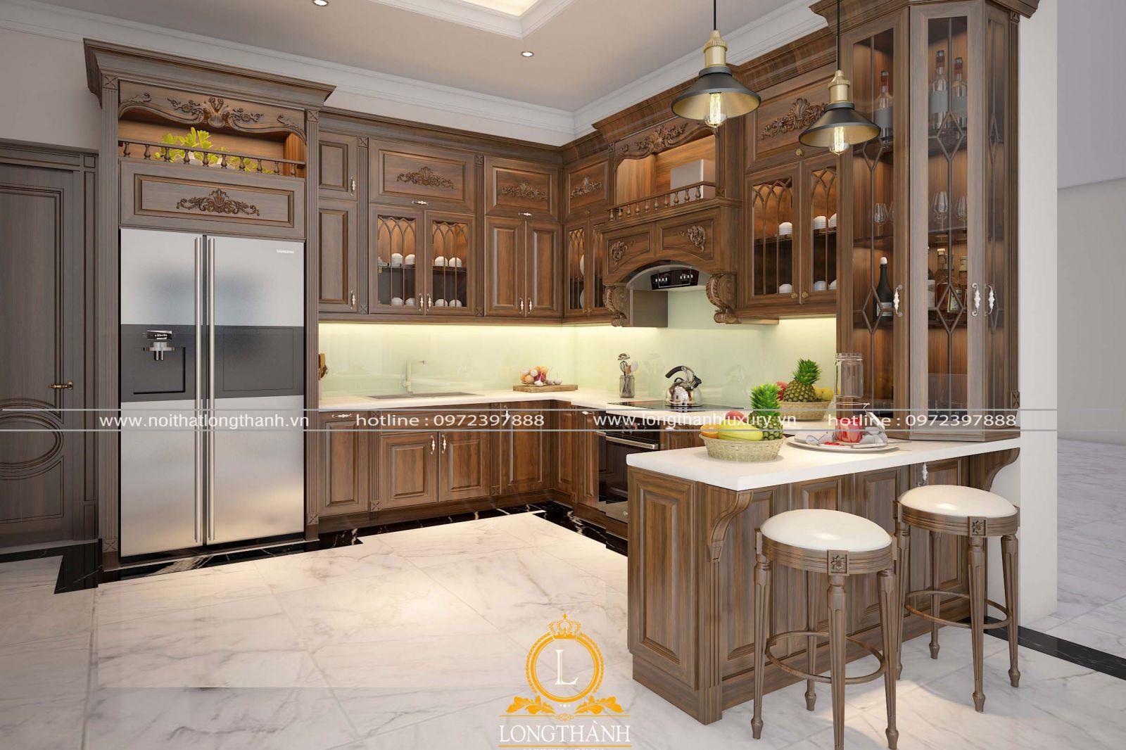 Tủ bếp tân cổ điển cho nhà chung cư với các họa tiết nhẹ nhàng