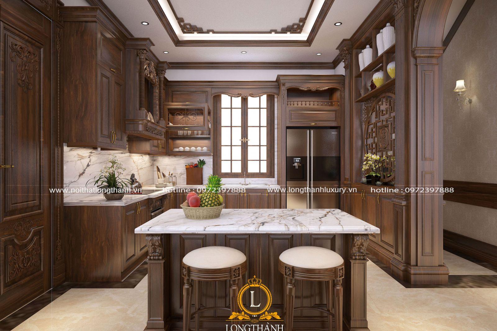 Bộ tủ bếp chữ U tân cổ điển đẹp với gỗ tự nhiên