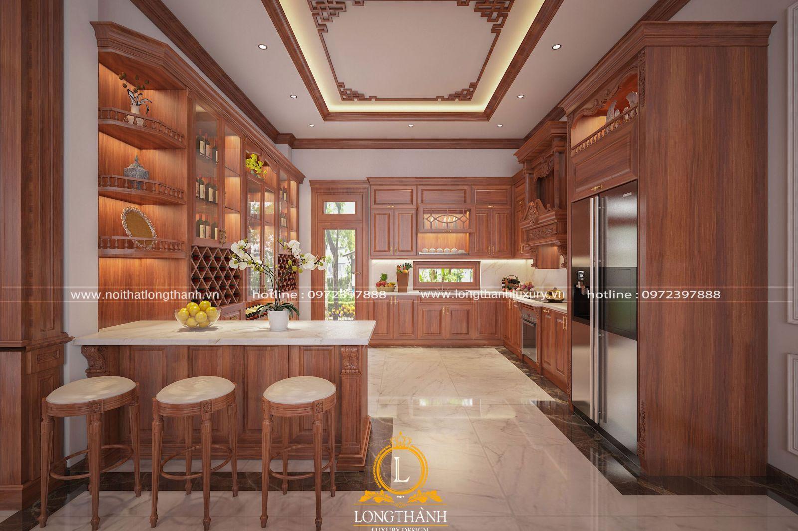 Không gian tủ bếp chữ U tân cổ điển sang trọng với quầy bar ấn tượng cho nhà biệt thự