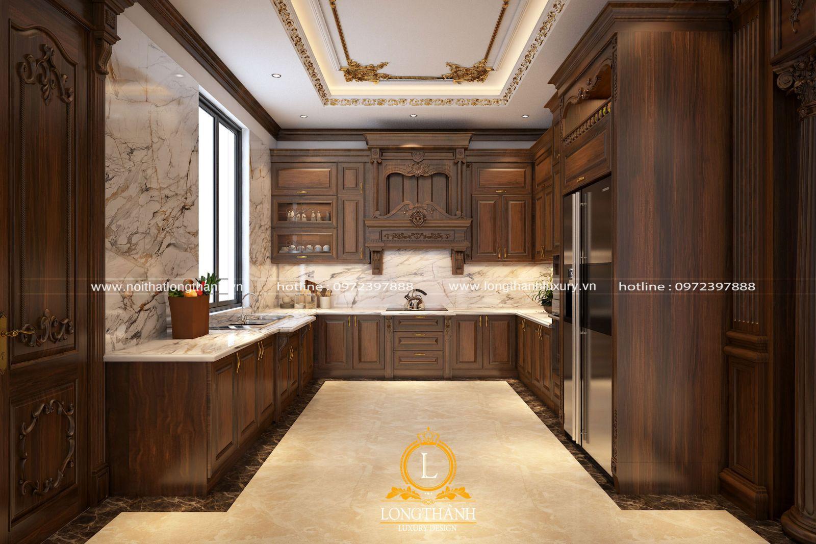 Bộ tủ bếp chữ U chất lượng gỗ Gõ tự nhiên được thiết kế theo phong cách tân cổ điển