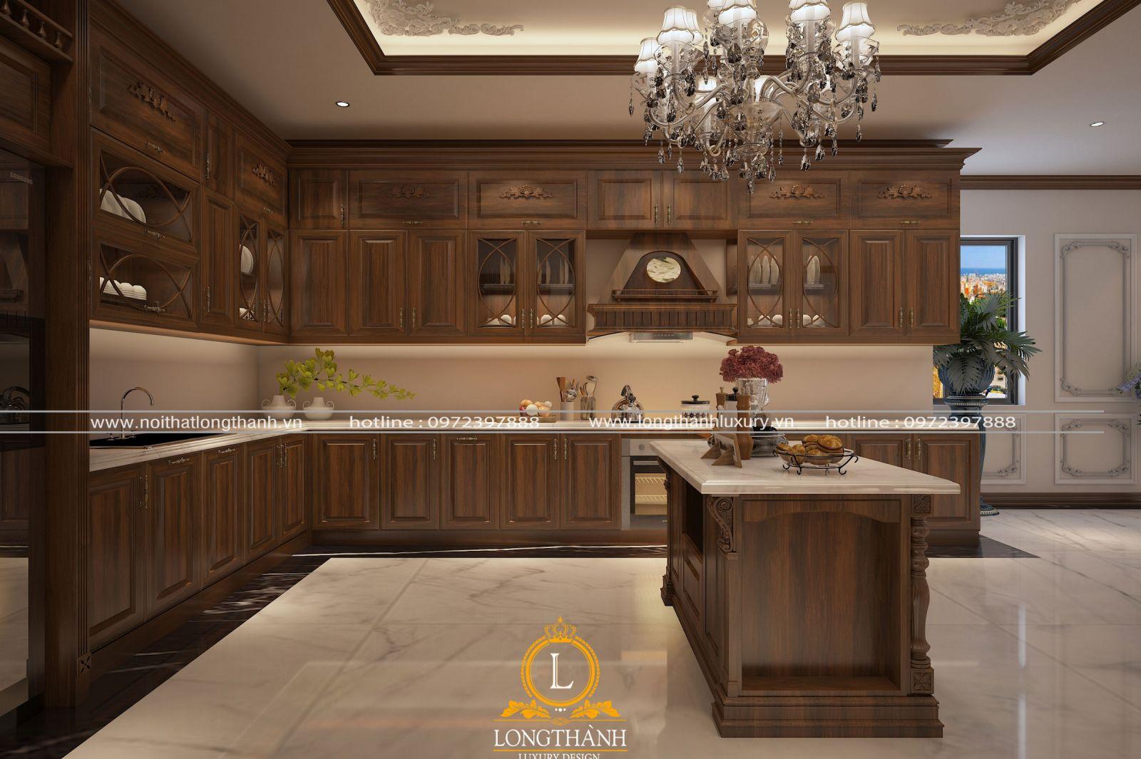 Mẫu tủ bếp từ gỗ Gõ tự nhiên được thiết kế hình chữ L cân đối với không gian nhà bếp