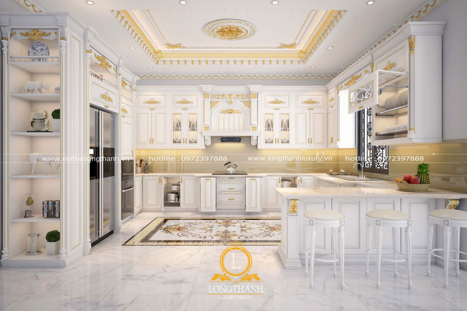Bộ tủ bếp gỗ cảm lai sơn trắng sát vàng thiết kế theo phong cách tân cổ điển