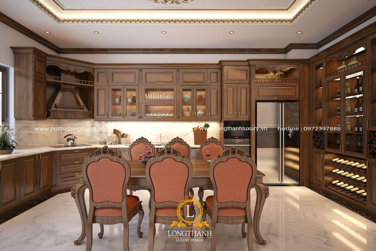 Bộ tủ bếp được thiết kế kết hợp cung tủ rượu là phương án được nhiều gia đình lựa chọn