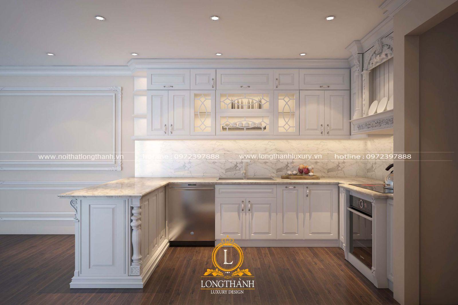 Bộ tủ bếp sơn trắng được thiết kế đơn giản