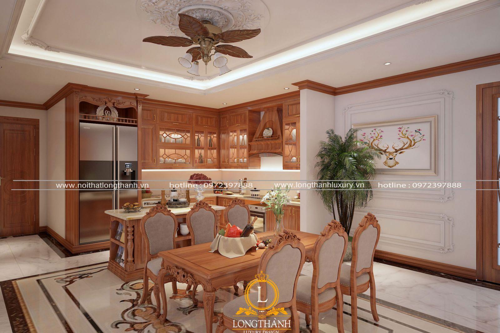 Bộ bàn ăn 6 chỗ cho không gian phòng bếp nhà biệt thự
