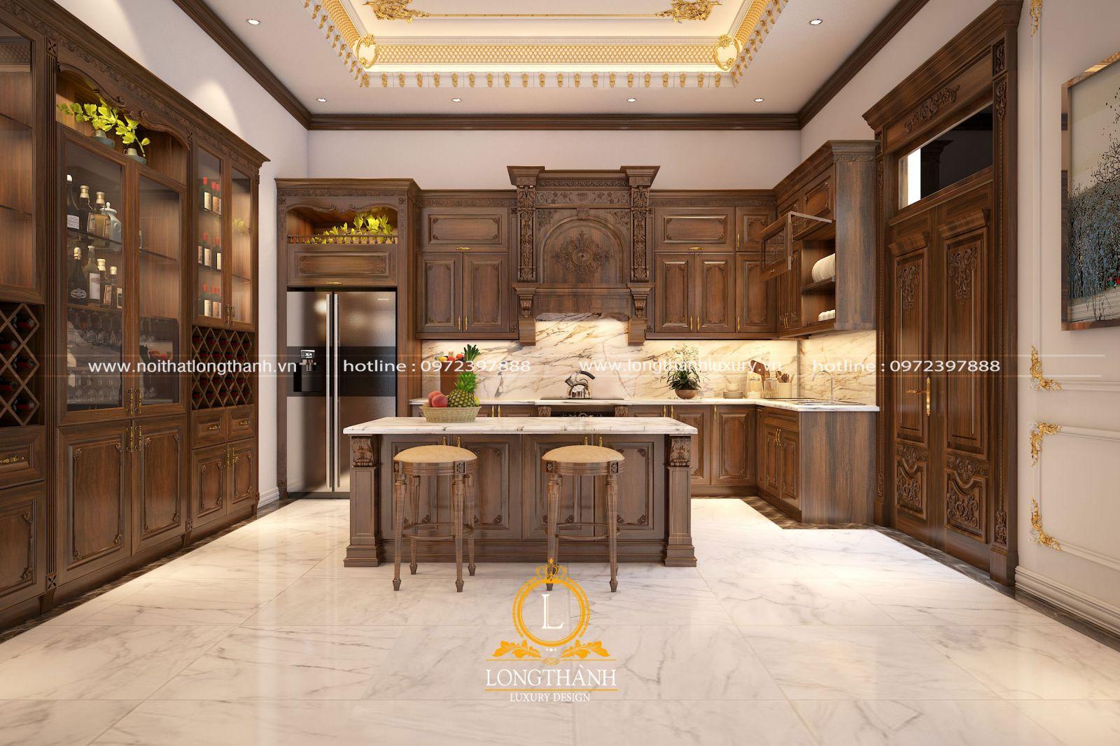 Bộ tủ bếp được bố trí cùng bàn đảo mang đến sự đầy đủ tiện nghi khi sử dụng