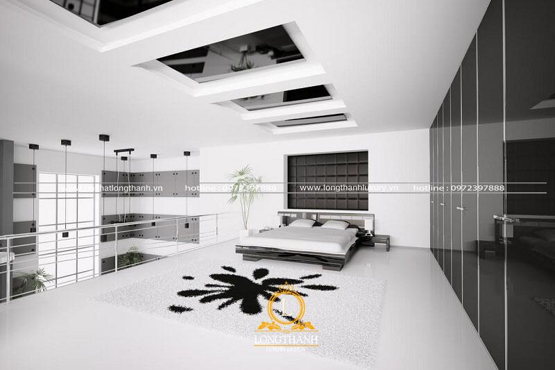 Phòng ngủ hiện đại màu đen được kết hợp độc đáo cho con người cảm giác hài lòng
