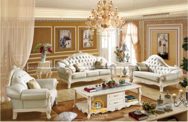 Căn phòng khách sơn trắng được trang trí độc đáo