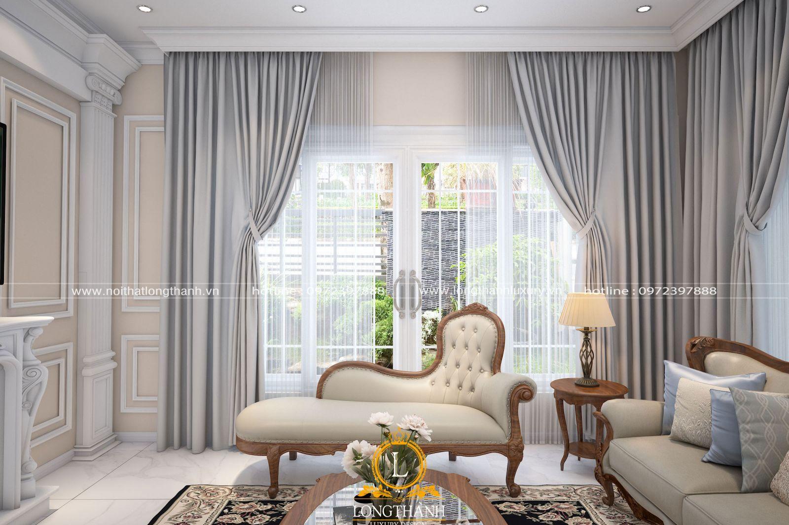 Căn phòng khách với hệ rèm trang trí độc đáo