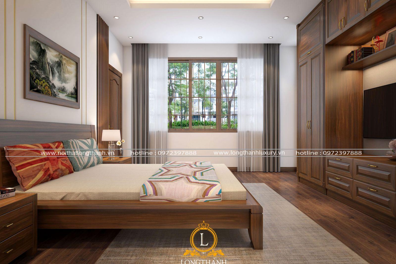 Căn phòng  ngủ hiện đại đẹp được lắp rèm trang trí