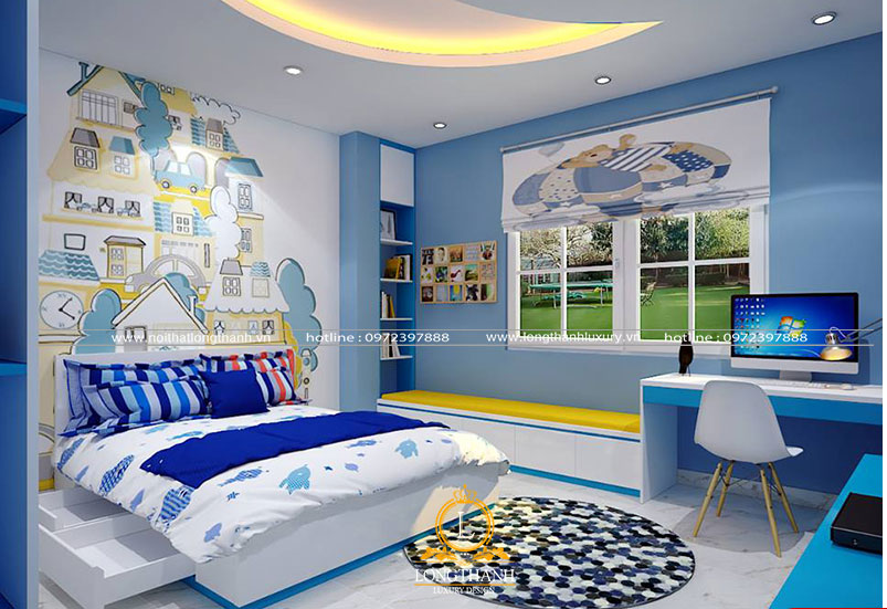 Căn phòng ngủ hiện đại cho bé trai ngộ nghĩnh