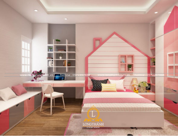 Căn phòng ngủ hiện đại dễ thương cho bé gái
