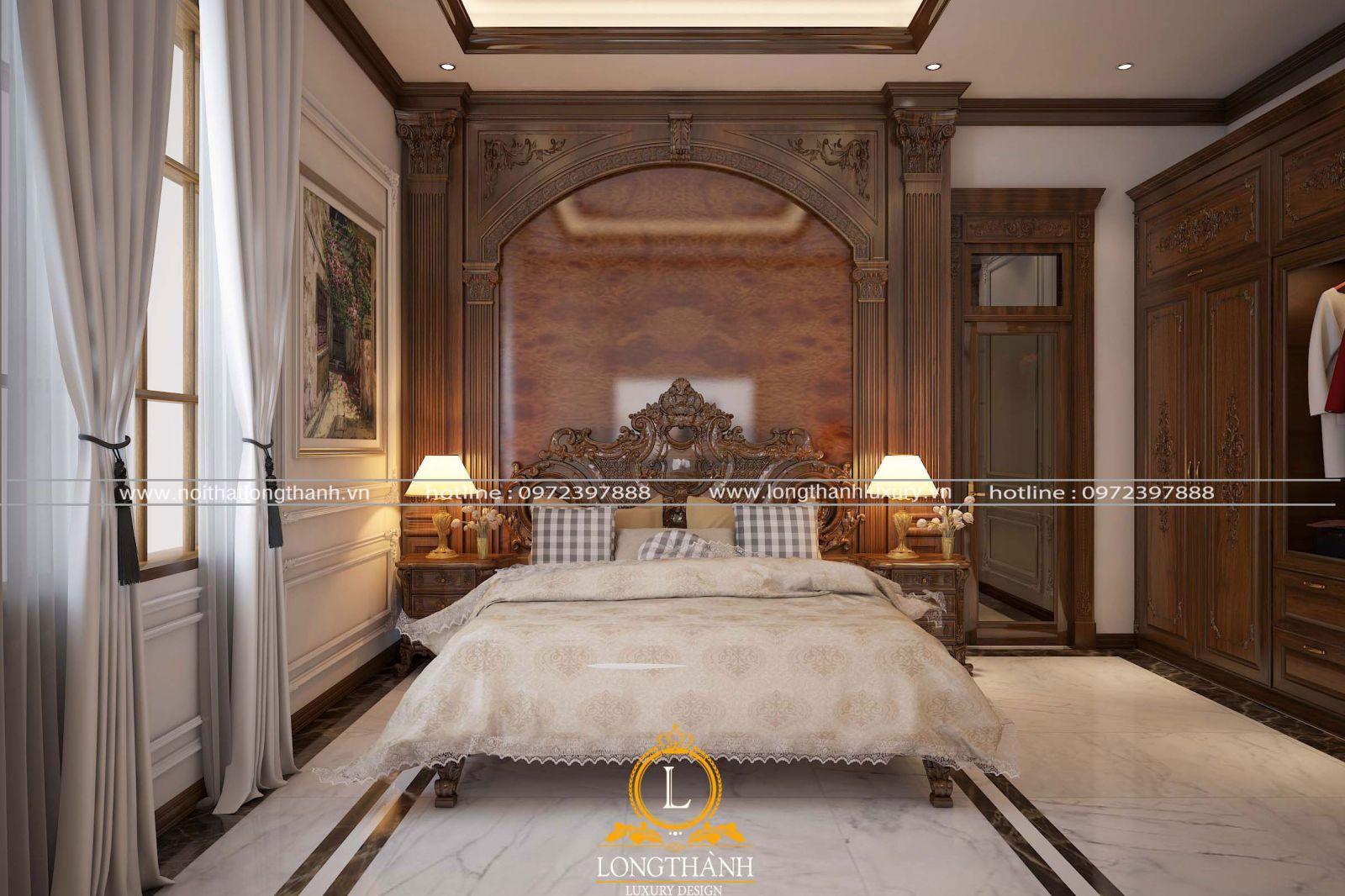 Phòng ngủ tân cổ điển với chất lượng gỗ Gõ thể hiện gu thẩm mỹ riêng của chủ nhân