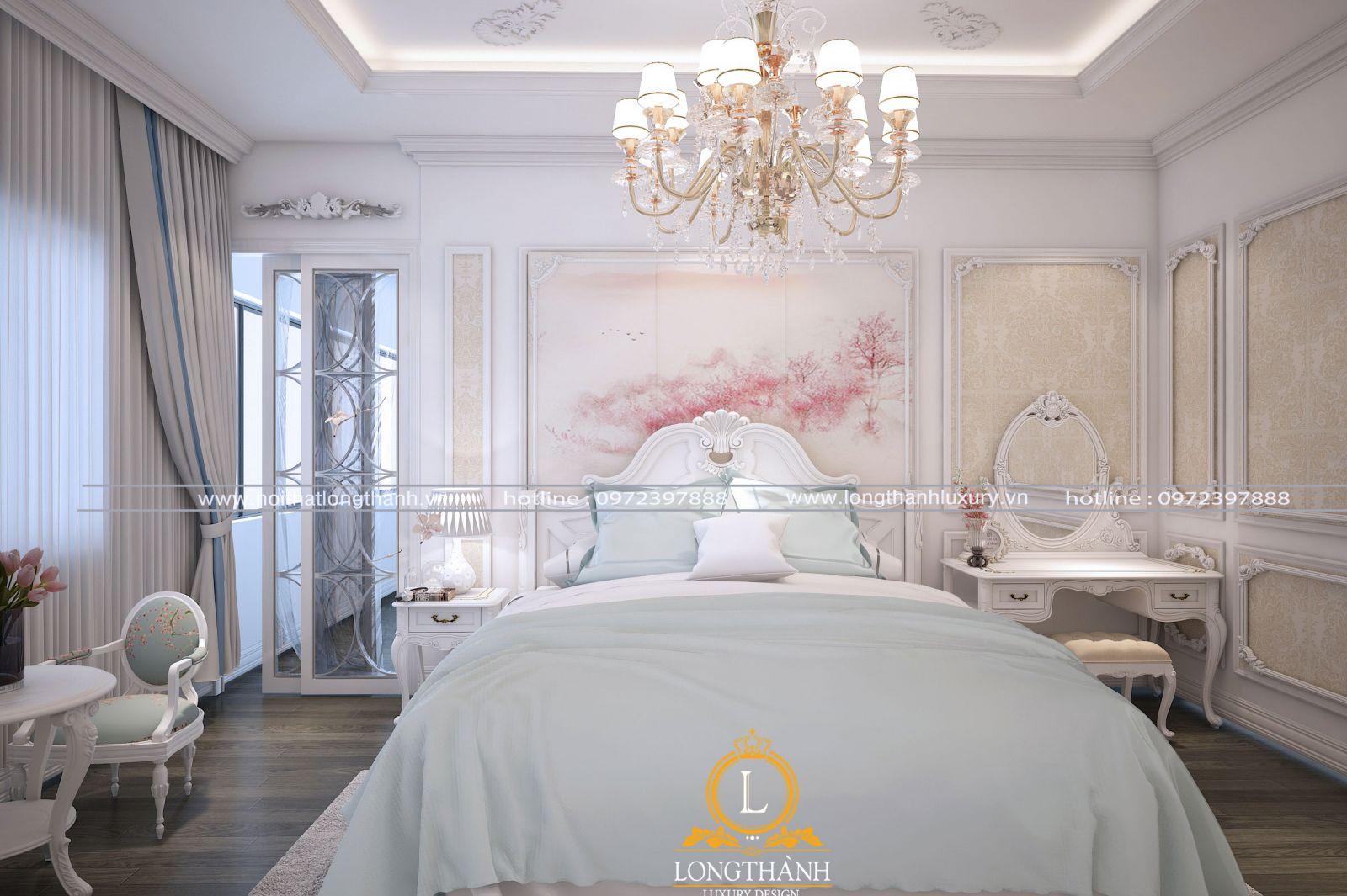 Căn phòng ngủ màu trắng đẹp nhẹ nhàng dễ thương