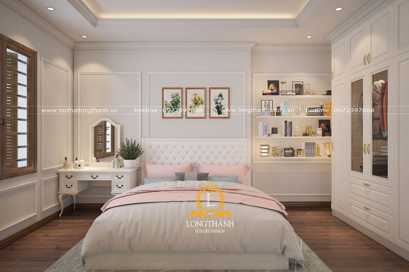 Phòng ngủ Verneer gỗ Sồi màu trắng dành cho các cô gái
