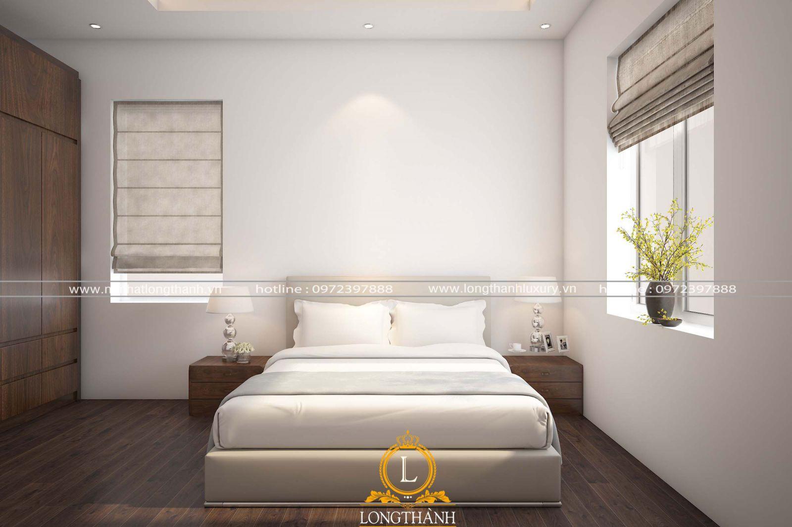 Chiếc giường ngủ được bố trí cạnh hệ cửa sổ giúp nguồn không khí trong phòng được lưu thông