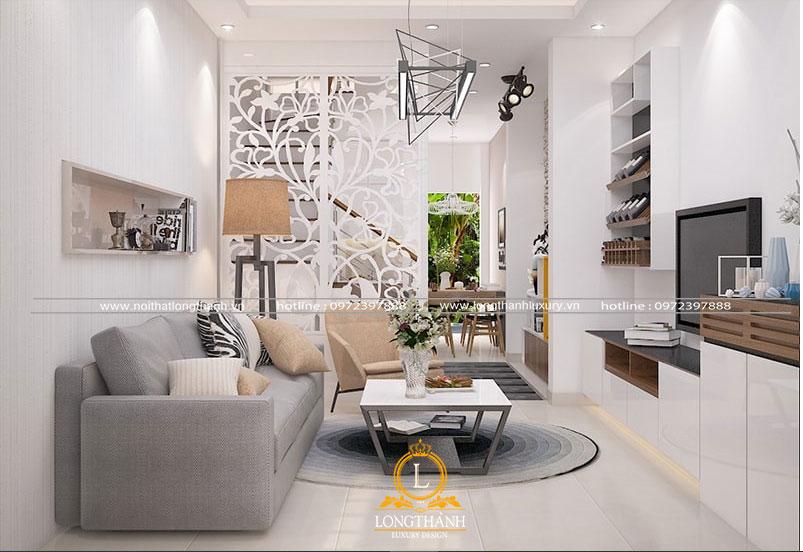 Thiết kế phòng khách nhà phố hiện đại với gam màu trắng làm chủ đạo