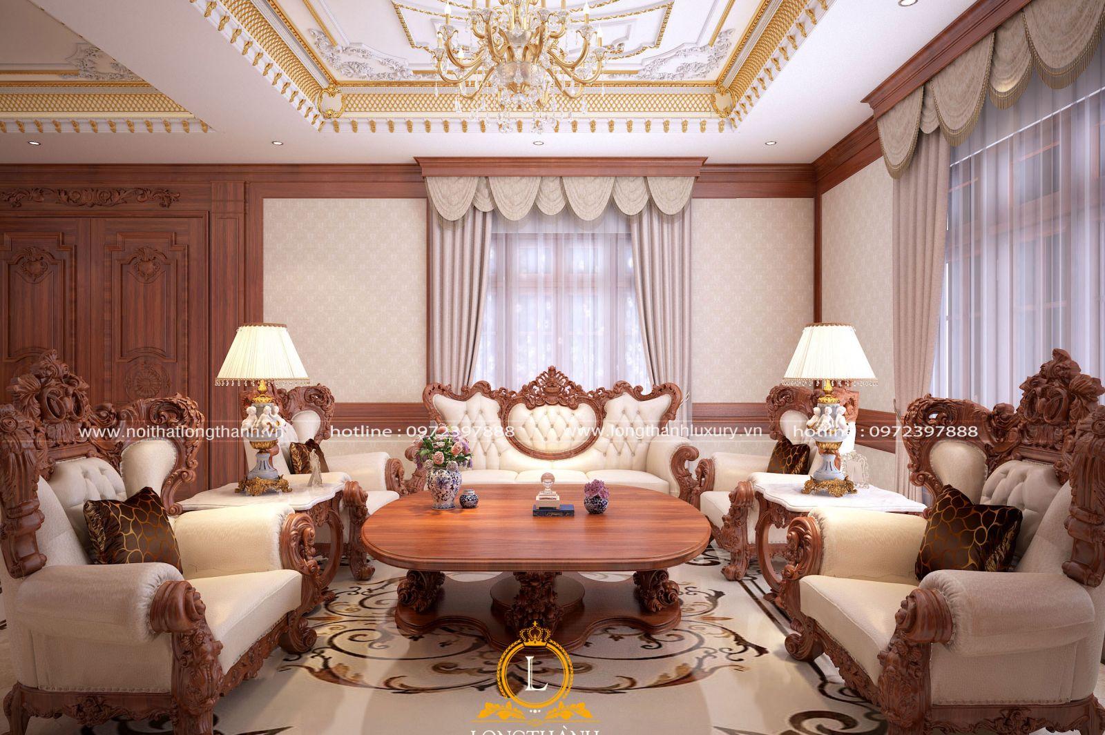 Không gian phòng khách biệt thự tân cổ điển được thiết kế bề thế và lộng lẫy
