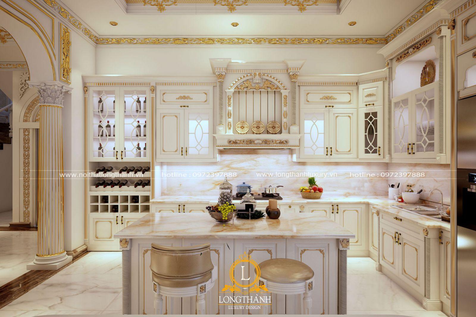 Bộ tủ bếp tân cổ điển sơn trắng được chạm khắc hoa văn tỉ mỉ và dát mạ vàng tinh tế
