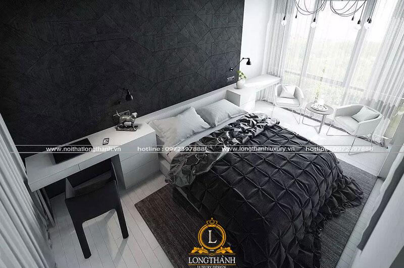 Chiếc giường màu đen sử dụng trong phòng ngủ hiện đại