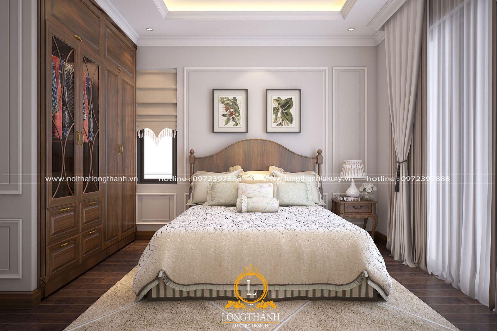 Chiếc tủ quần áo gỗ tự nhiên ấn tượng  trong không gian phòng khách màu trắng