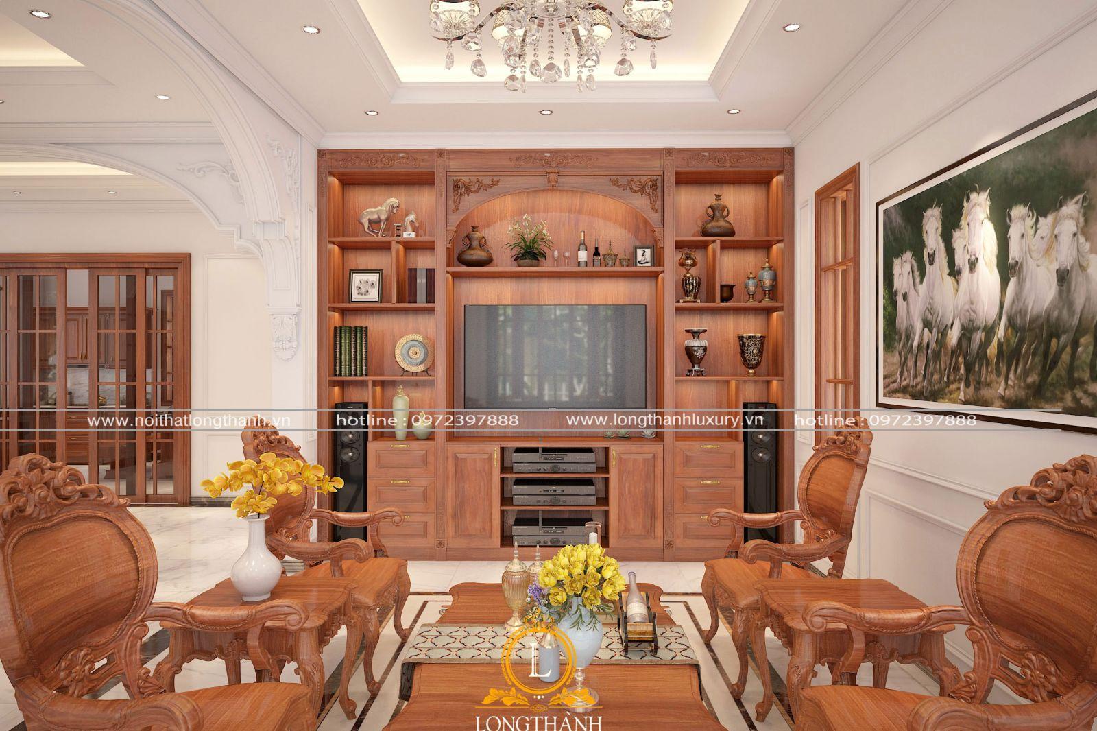 Kệ tivi kết hợp tủ trang trí cho phòng khách ấn tượng