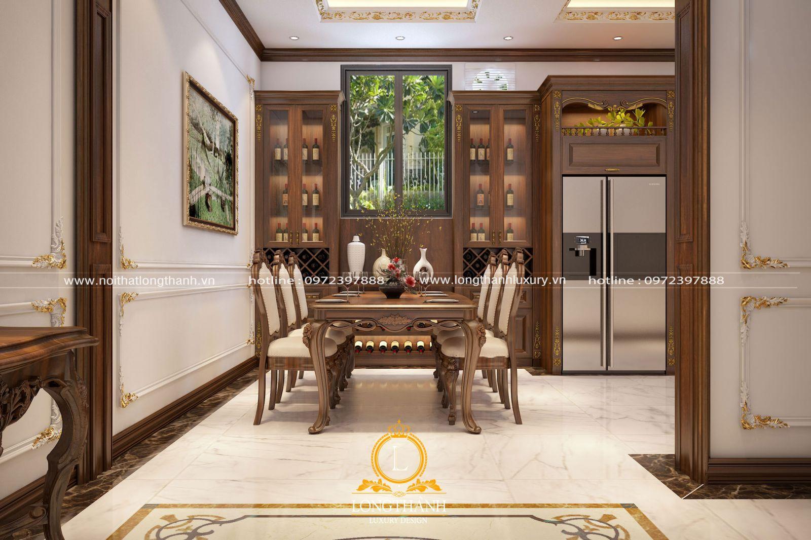 Tủ rượu đẹp được thiết kế bố trí linh hoạt trong không gian phòng bếp