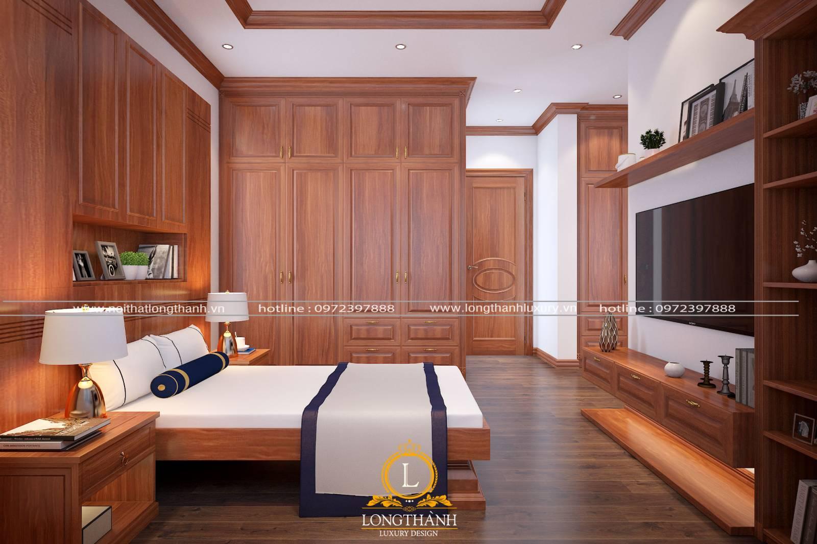 Combo giường tủ tân cổ điển có màu nâu của gỗ