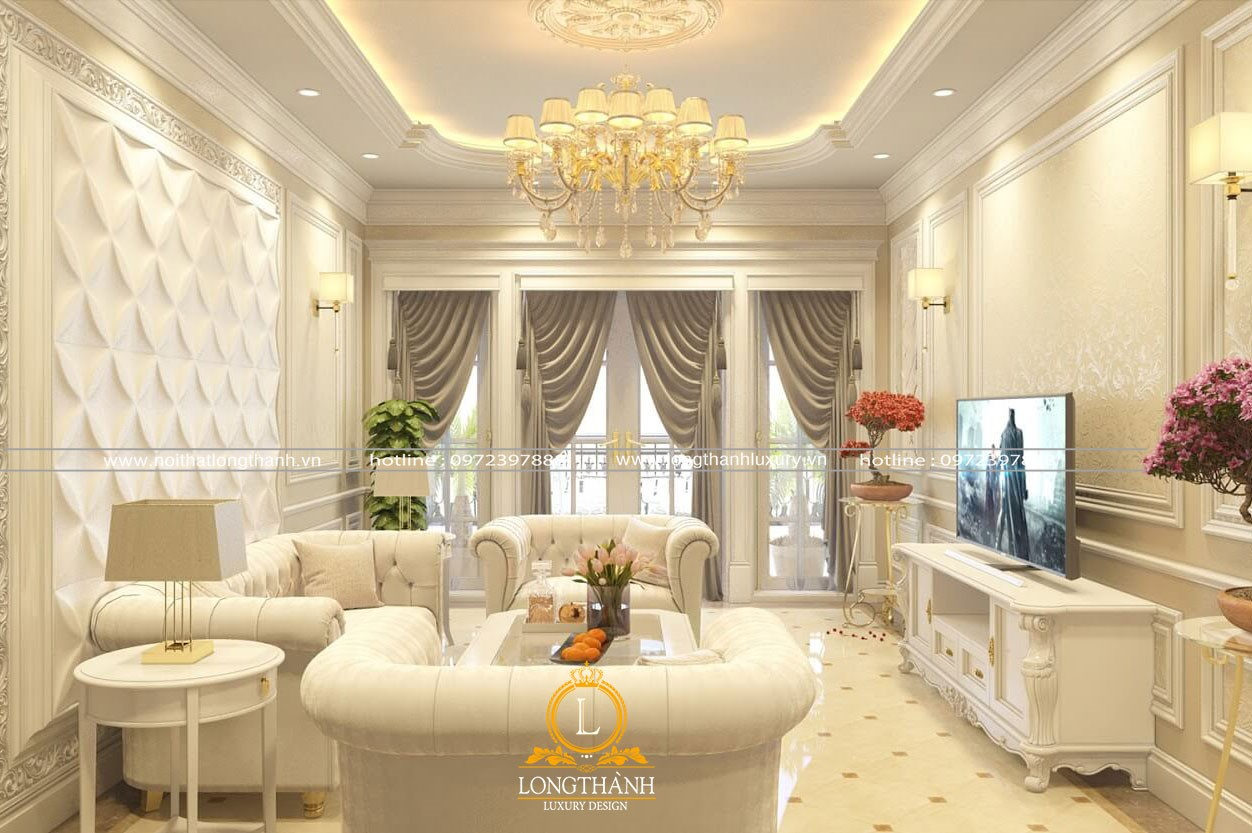 Đèn chùm tân cổ điển ánh sáng vàng cho phòng khách thêm ấm áp