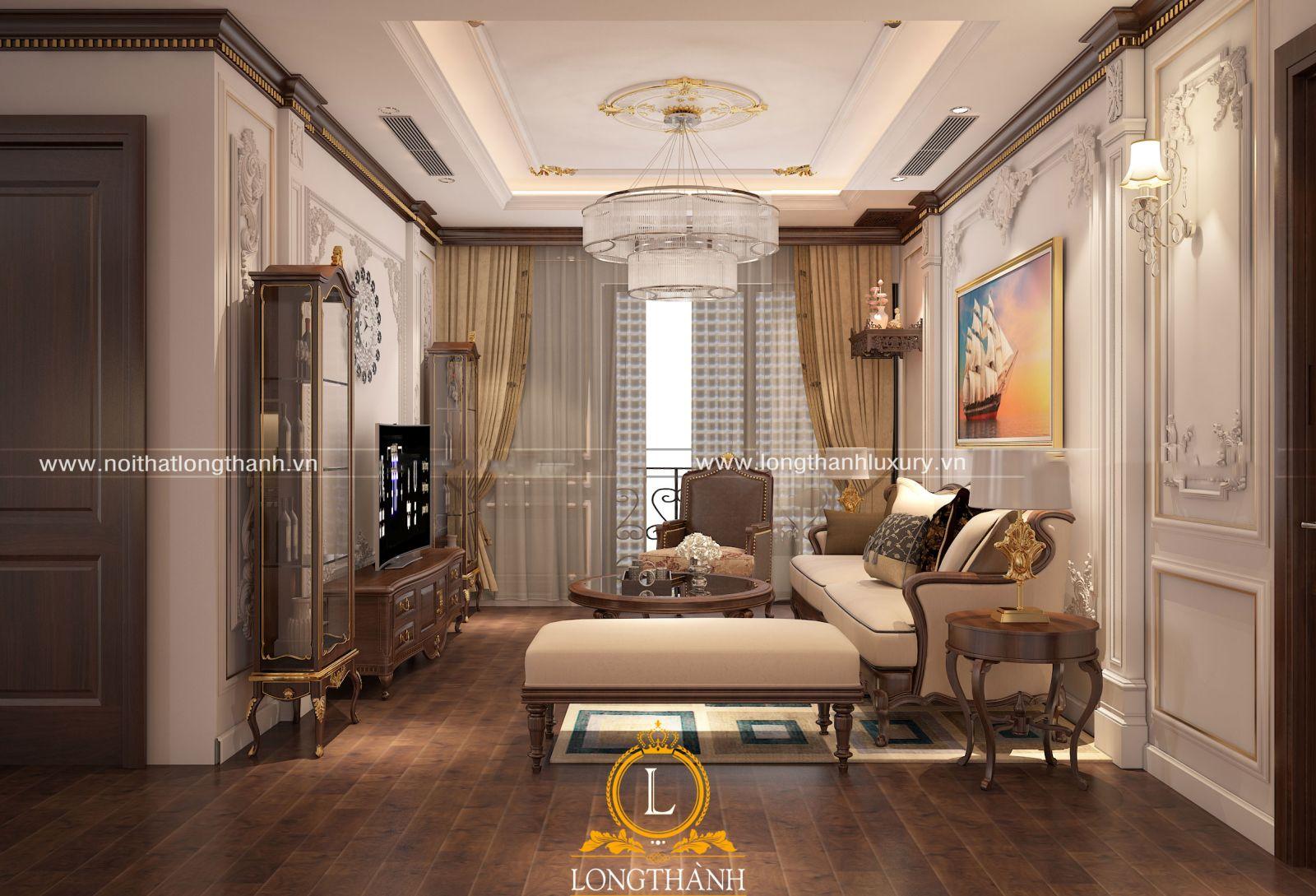 Phòng khách chung cư nhỏ với bộ sofa bọc đệm