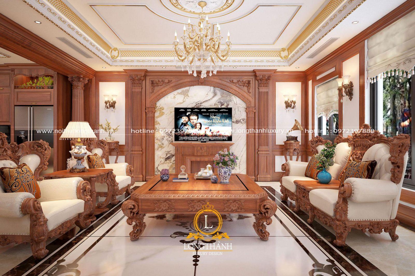 Thiết kế nội thất tân cổ điển cho phòng khách biệt thự đẹp ấn tượng