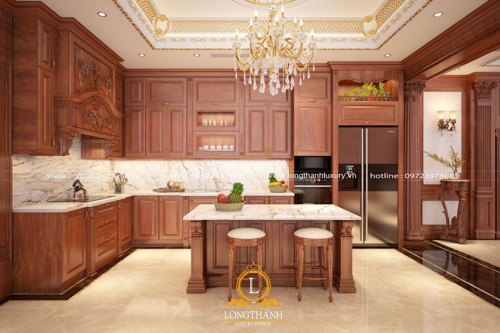 Bộ tủ bếp gỗ Gõ màu vàng với những đường vân gỗ tự nhiên nổi bật
