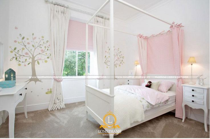 Gam màu trắng hồng được sử dụng trong phòng ngủ hiện đại